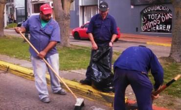 Personal Municipal realizó tareas de acondicionamiento en parterres de Bv. Lavalle