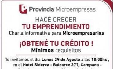 Se realizará una charla informativa sobre créditos para microempresarios