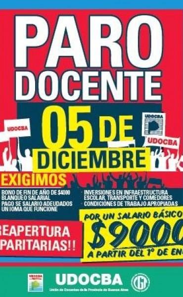 UDOCBA CONVOCA AL PARO EL 5 DE DICIEMBRE EN DEMANDA DE $9.000 DE BÀSICO DOCENTE