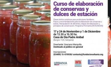 Hoy iniciará un curso gratuito de elaboración de conservas y dulces de estación