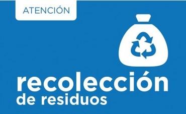 Cronograma del servicio de recolección de residuos para Fin de Año y Año Nuevo