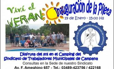 Se inaugura la pileta en el Camping del Sindicato de Trabajadores Municipales de Campana