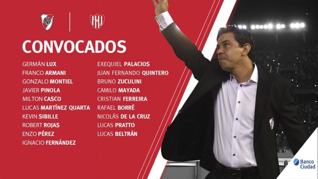 River Plate y los convocados para recibir a Unión este miércoles en el Monumental.