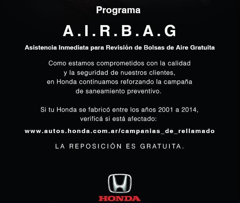HONDA LANZA SU PROGRAMA A.I.R.B.A.G. -Asistencia Inmediata para Revisión de Bolsas de Aire Gratuita-