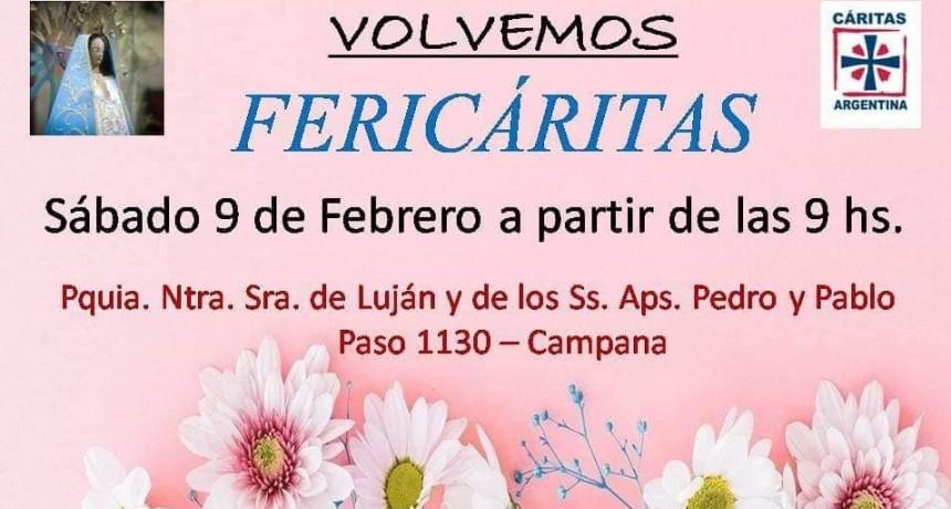 Vuelve Fericáritas este sábado 9 de Febrero desde las 9 horas