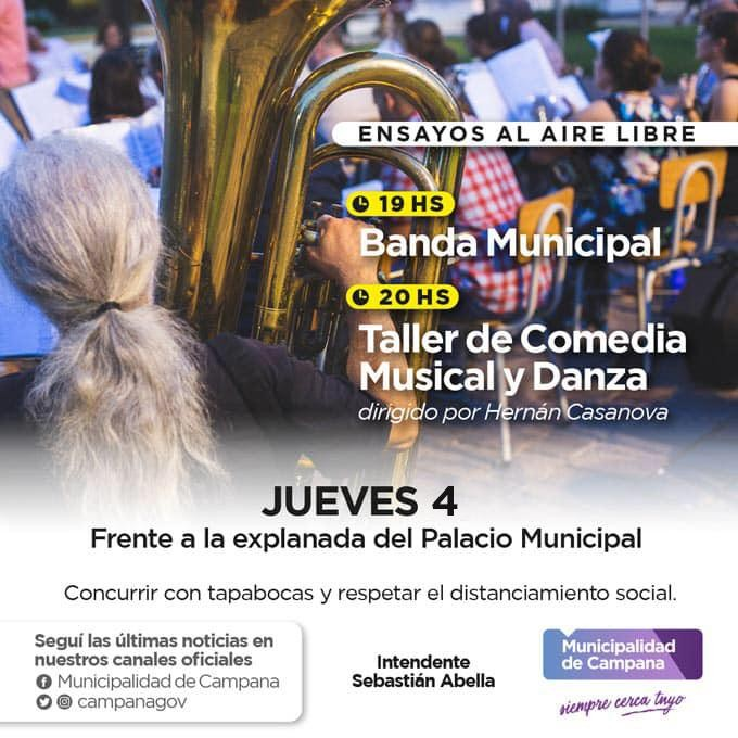 Este jueves habrá un nuevo ensayo al aire libre de la Banda Municipal
