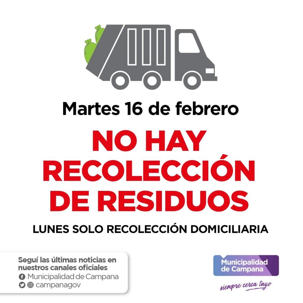 Informan el cronograma de recolección de residuos durante el feriado de Carnaval