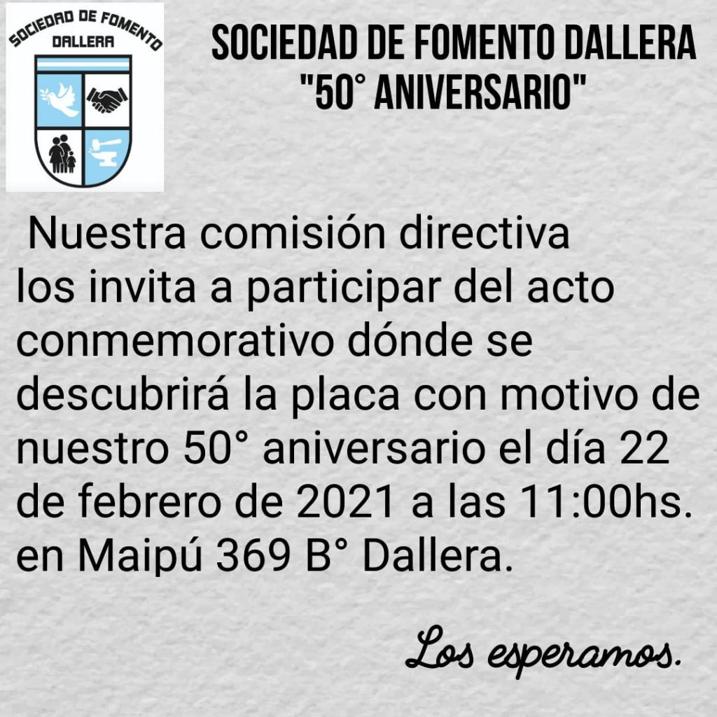 LA SOCIEDAD DE FOMENTO DEL BARRIO DALLERA CUMPLE 50 AÑOS