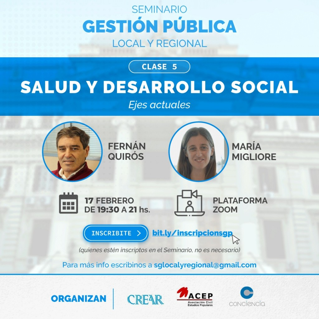 Seminario de Gestión Pública Local y Regional con los ejes de Salud y Desarrollo Social