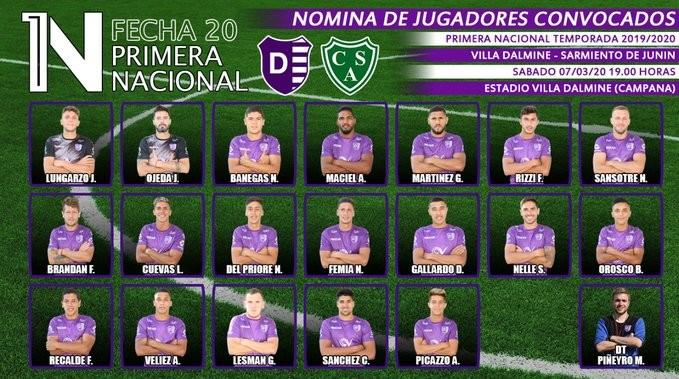 Estos son los jugadores dispuestos por el DT Martín Piñeyro para enfrentar mañana sabado desde las 19 horas a Sarmiento de Junin.