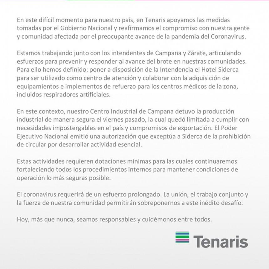 Comunicado de Tenaris