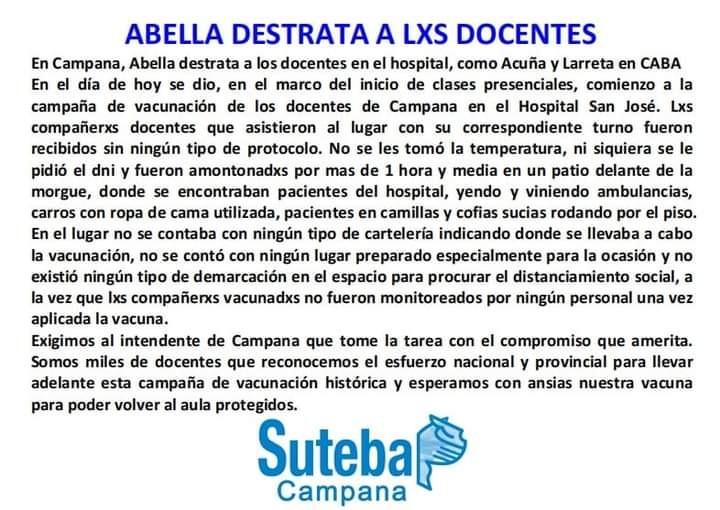 ANDREA VILLARREAL :  LA VACUNACION A LOS DOCENTES EN EL HOSPITAL SAN JOSE FUE UN CAOS