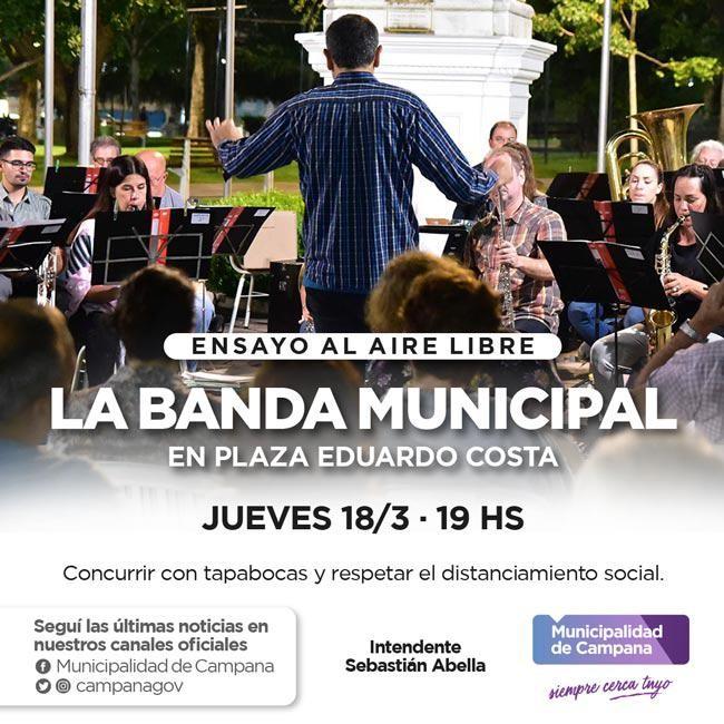 La Banda Municipal llega a la plaza Eduardo Costa con un nuevo ensayo abierto