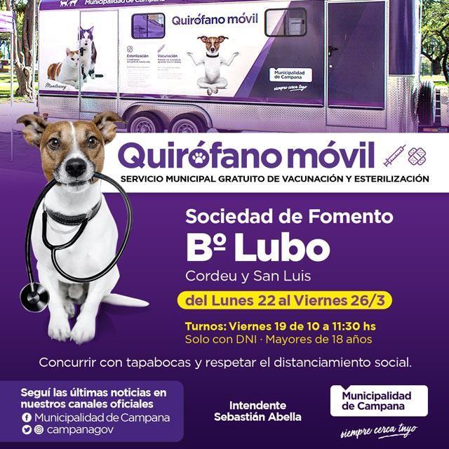 El quirófano móvil estará en el barrio Lubo