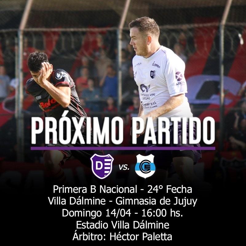 Fecha 24 de la Primera B Nacional: Villa Dálmine recibe a Gimnasia y Esgrima de Jujuy el domingo a las 16 horas