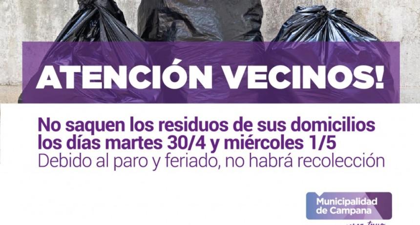 Este martes y miércoles no habrá recolección: solicitan no sacar los residuos