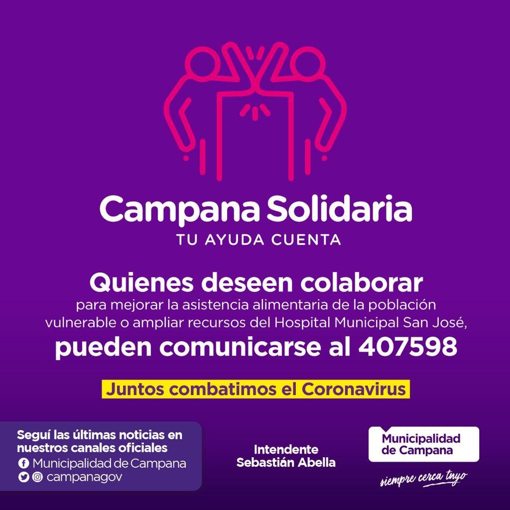 """""""Campana solidaria"""", una campaña de donación frente a la pandemia"""