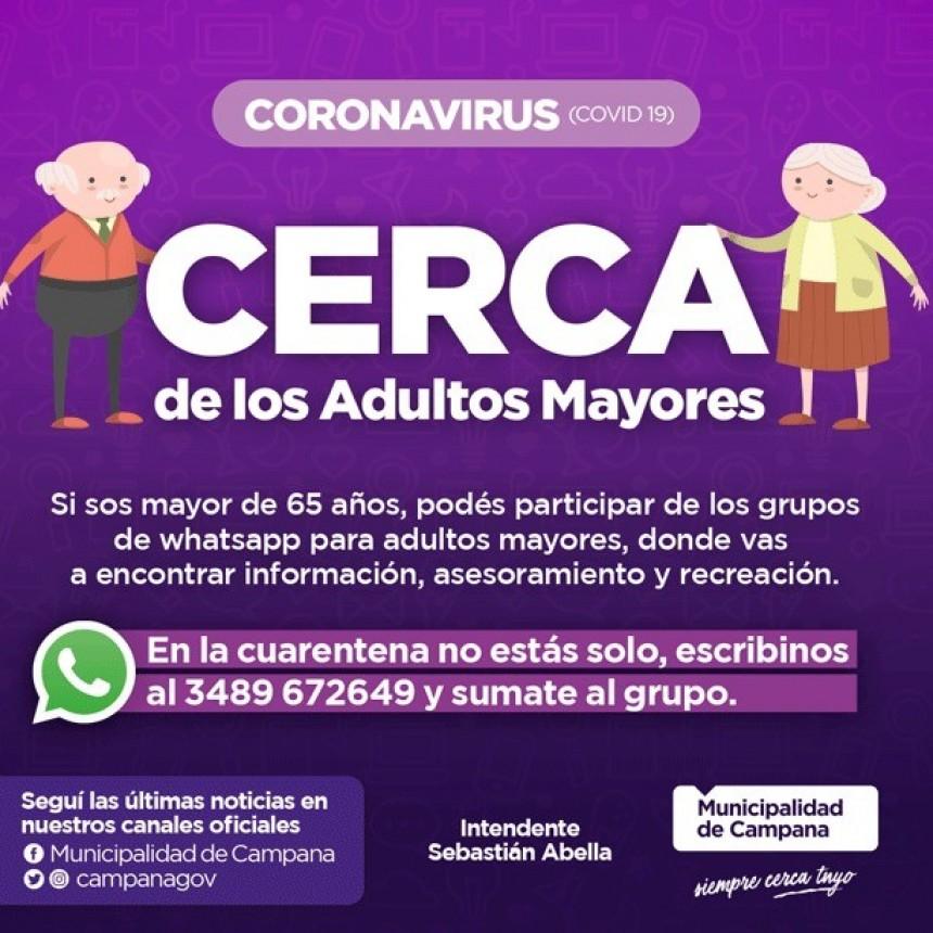 A través de WhatsApp, el Municipio asesora y acompaña a los adultos mayores de la ciudad