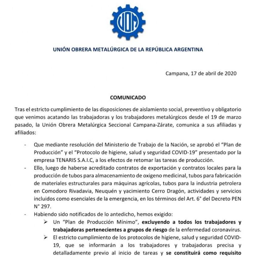 Comunicado de la U.O.M  Campana-Zárate