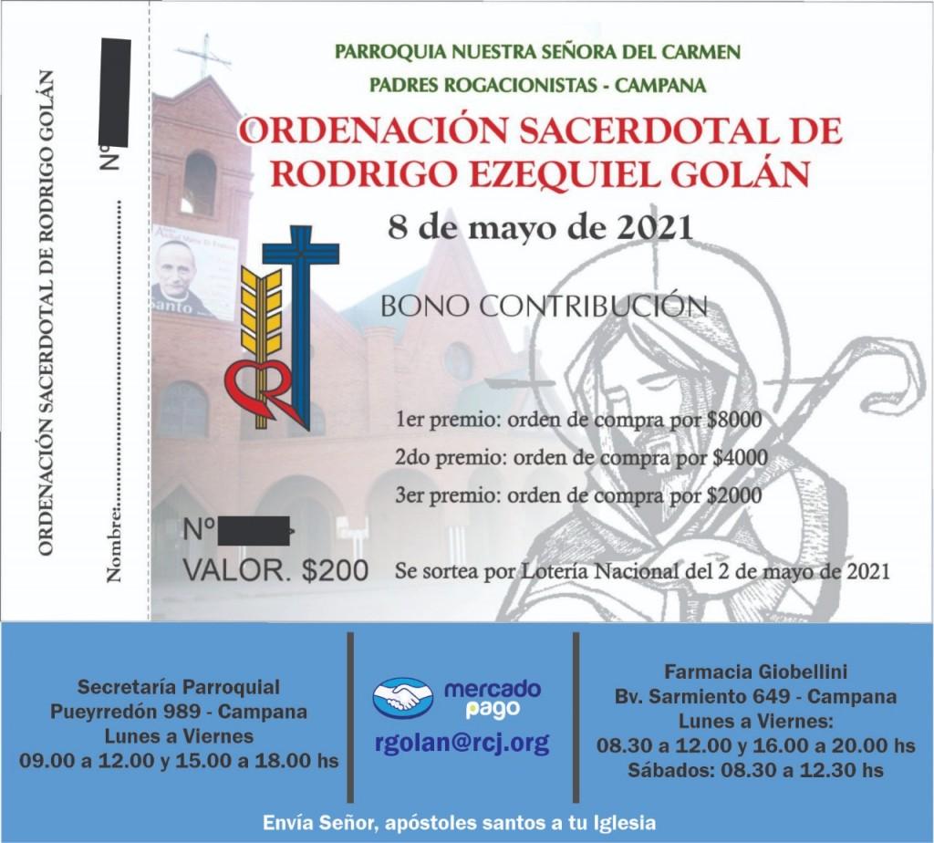 Rodrigo Golan se convertirá en el primer Sacerdote Rogacionista que se ordenará de la ciudad