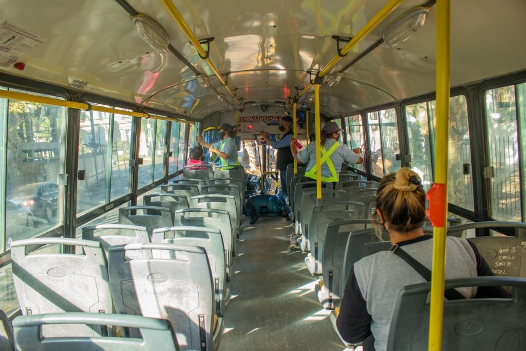 Controlan los protocolos de Covid 19 en el transporte público