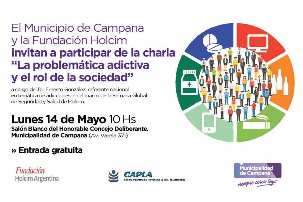 Se realizará una charla sobre adicciones y el rol de la sociedad