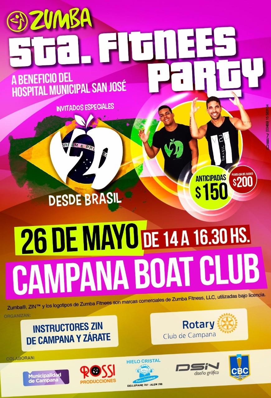 Zumba en el Campana Boat Club el día 26 de Mayo próximo