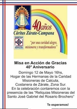 Se cumplen 40 años de Cáritas Zárate-Campana