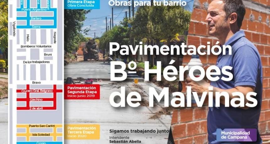 Héroes de Malvinas: Abella les anunció a los vecinos nuevas obras de pavimentación
