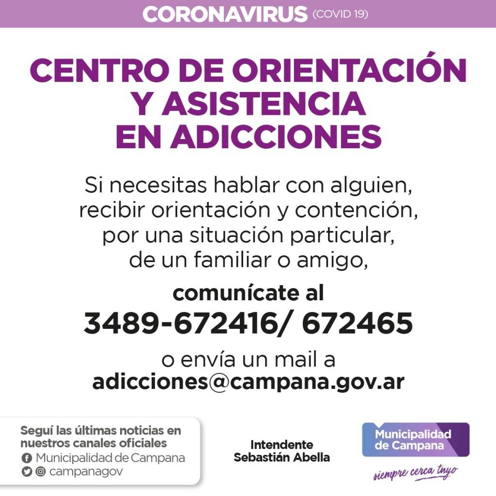 El Centro de Orientación y Asistencia en Adicciones recuerda sus vías de comunicación