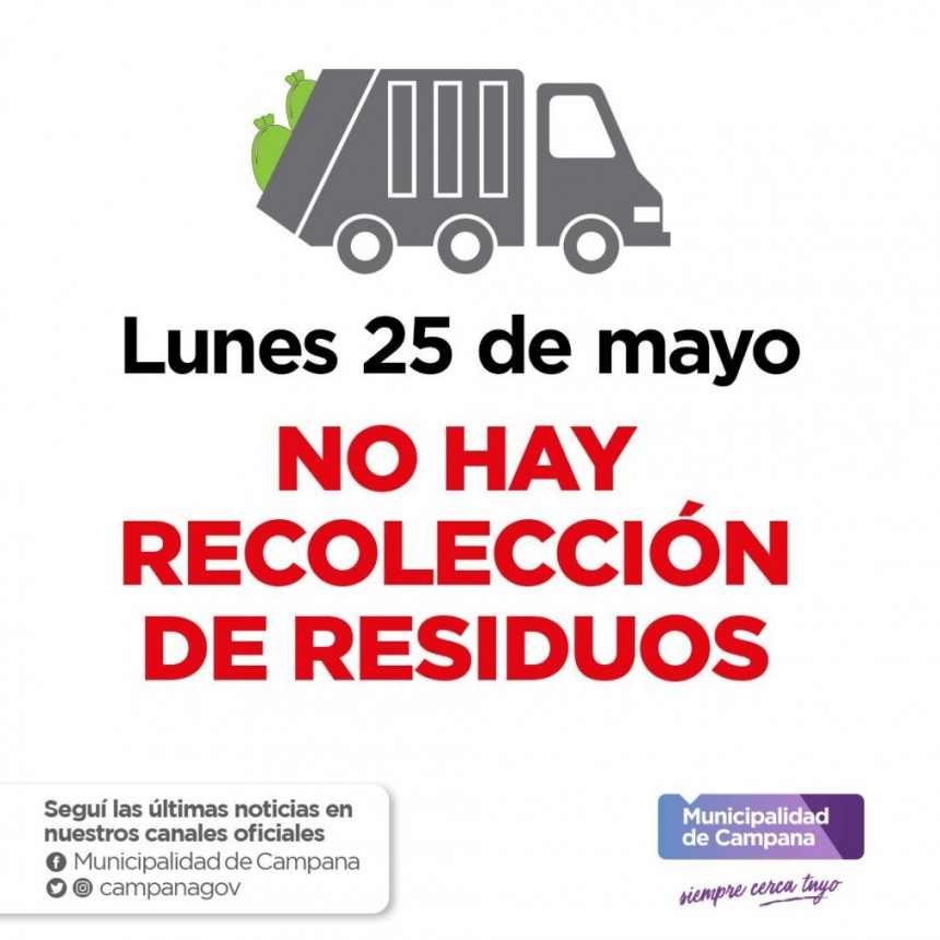 Por el feriado, el lunes no habrá recolección de residuos