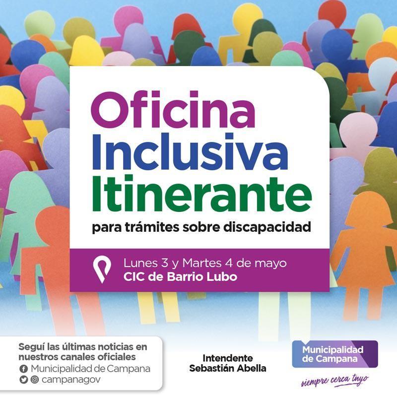La Oficina Inclusiva de la Dirección de Discapacidad visitará el barrio Lubo