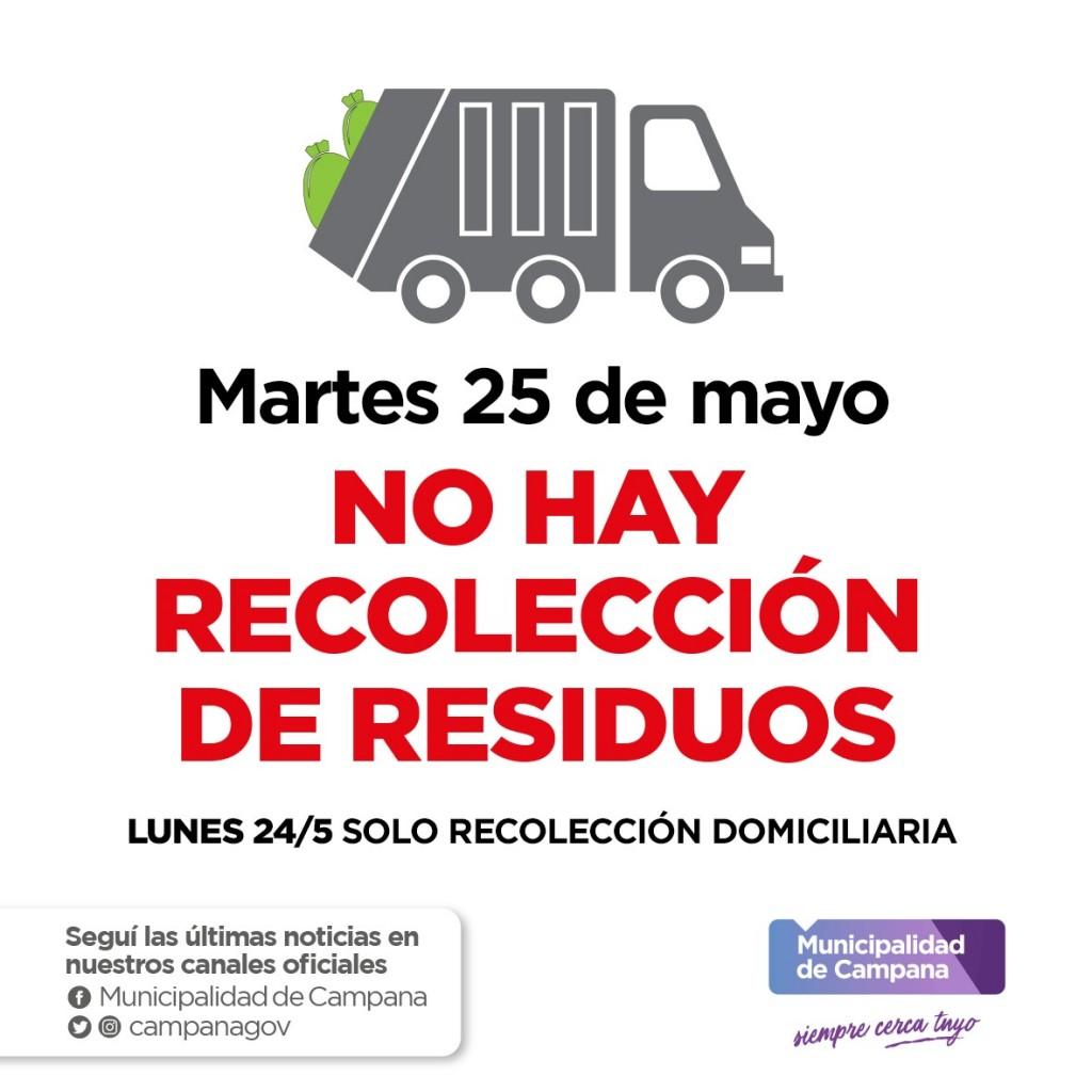 Este martes 25 no habrá recolección de residuos