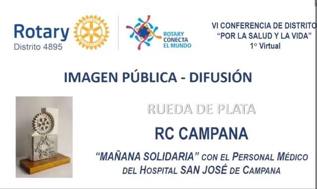 Rotary Club Campana reconocido por la mañana solidaria en la Conferencia del Distrito Rotario 4895