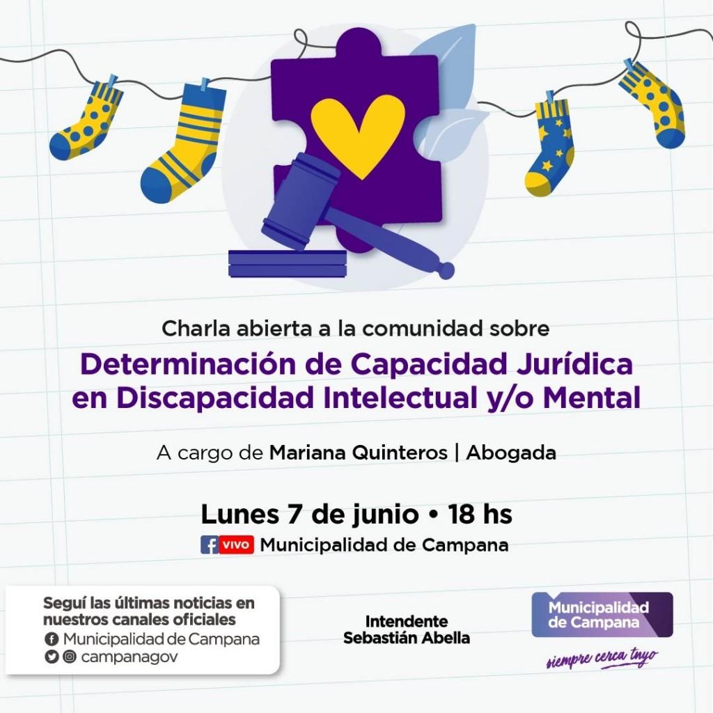 """Invitan a una charla virtual sobre """"Determinación de Capacidad Jurídica en Discapacidad Intelectual y/o Mental"""""""
