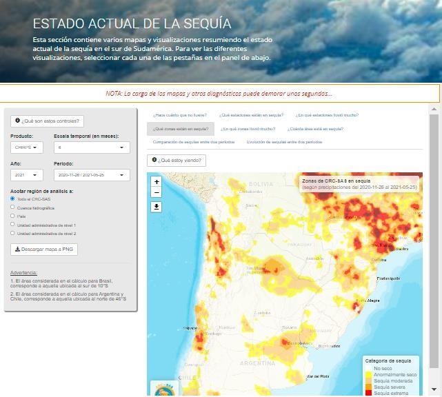 Nuevo sistema de información sobre sequías para el sur de Sudamérica