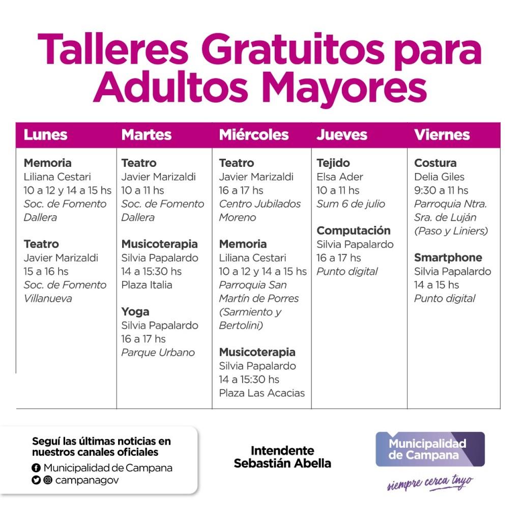 Continúan los talleres gratuitos para adultos mayores