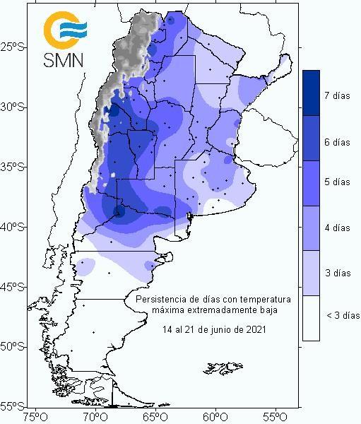 Ola de frío y persistencia de temperaturas bajas del 15 al 21 de junio de 2021