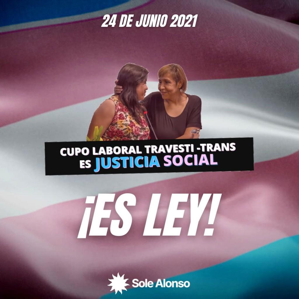 Es ley el Cupo Laboral Travesti-Trans  Por Soledad Alonso