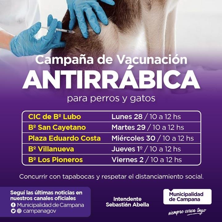 Lanzan una campaña de vacunación antirrábica para mascotas