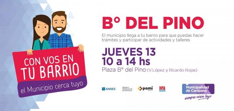 """""""Con vos en tu barrio"""" visitará este jueves Del Pino"""