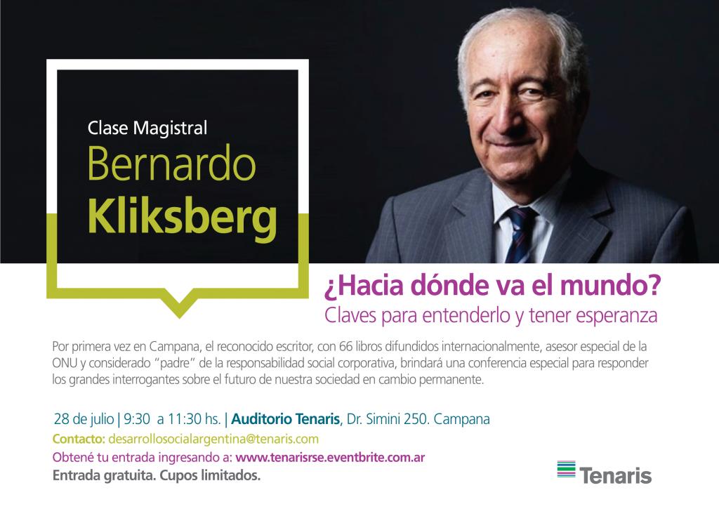 Bernardo Kliksberg brindará una clase magistral en el Auditorio de Tenaris