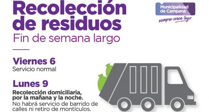 Cómo será la recolección de residuos durante el fin de semana largo