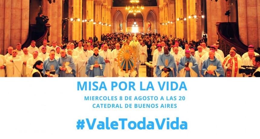Misa por la Vida: 8 de agosto 20 hs en la Catedral Buenos Aires