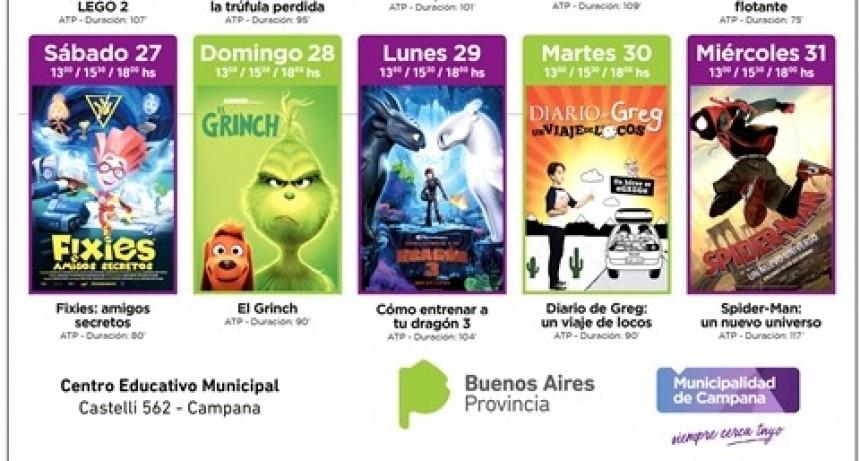 Vacaciones de invierno: hasta el miércoles habrá cine gratuito en el CEM
