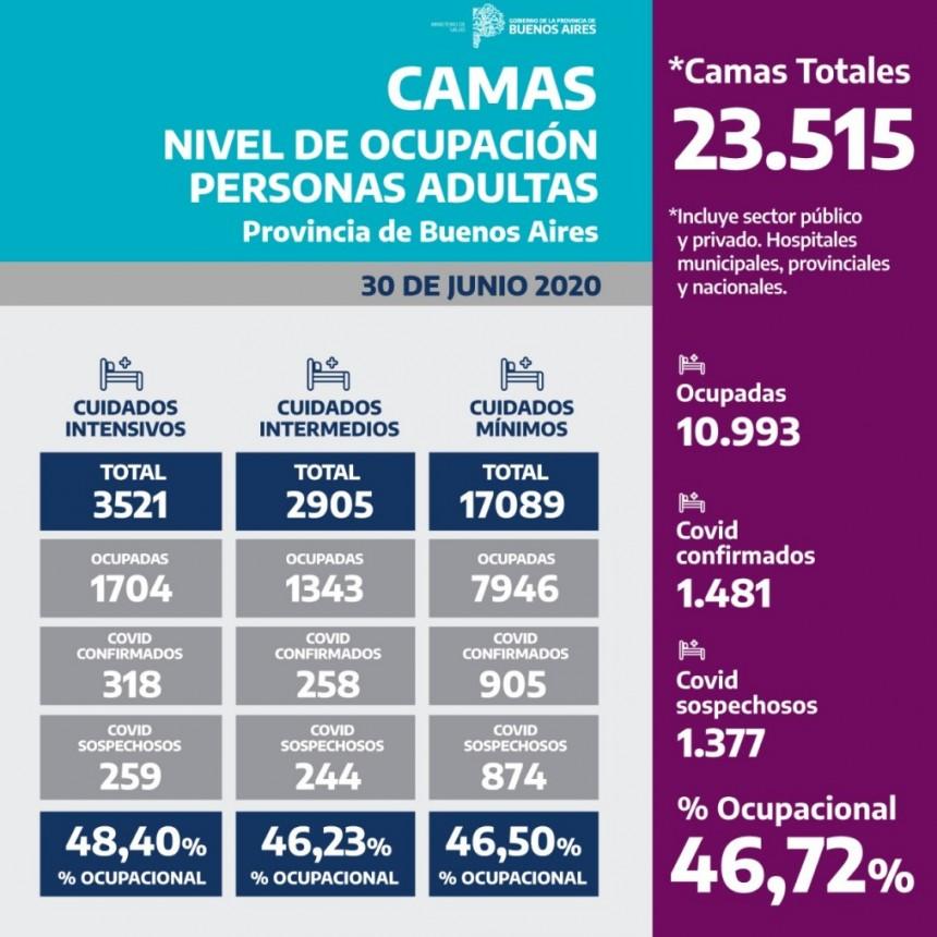 Nivel de ocupacion de camas en la Provincia de Buenos Aires