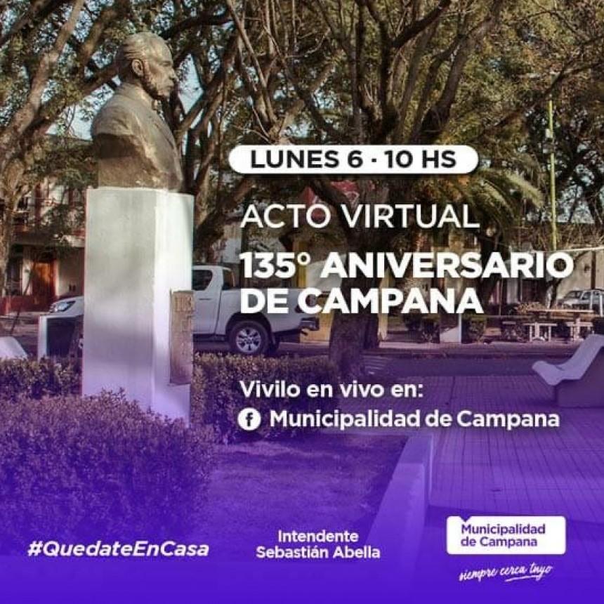 Con un acto virtual, la ciudad celebrará su 135° aniversario