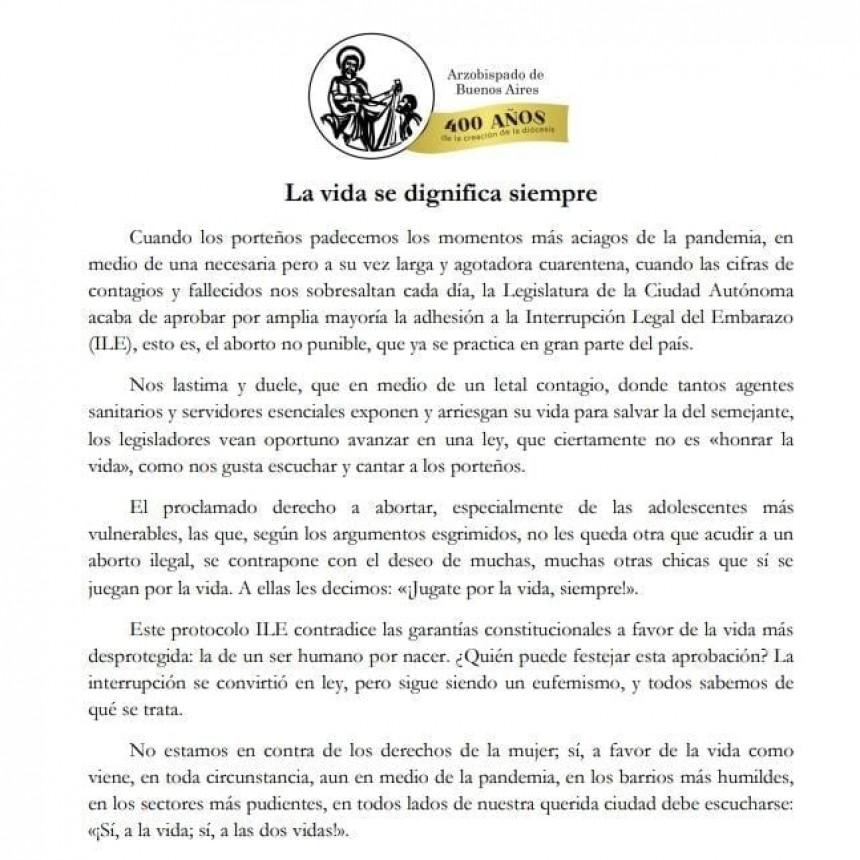 Comunicado de los Obispos de la Arquidiócesis de Buenos Aires La vida se dignifica siempre.