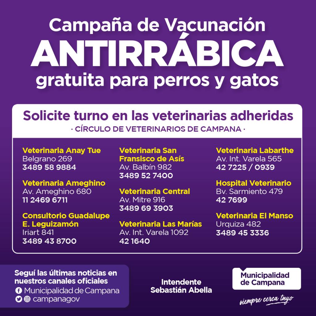 Veterinarias privadas se suman a la campaña de vacunación antirrábica