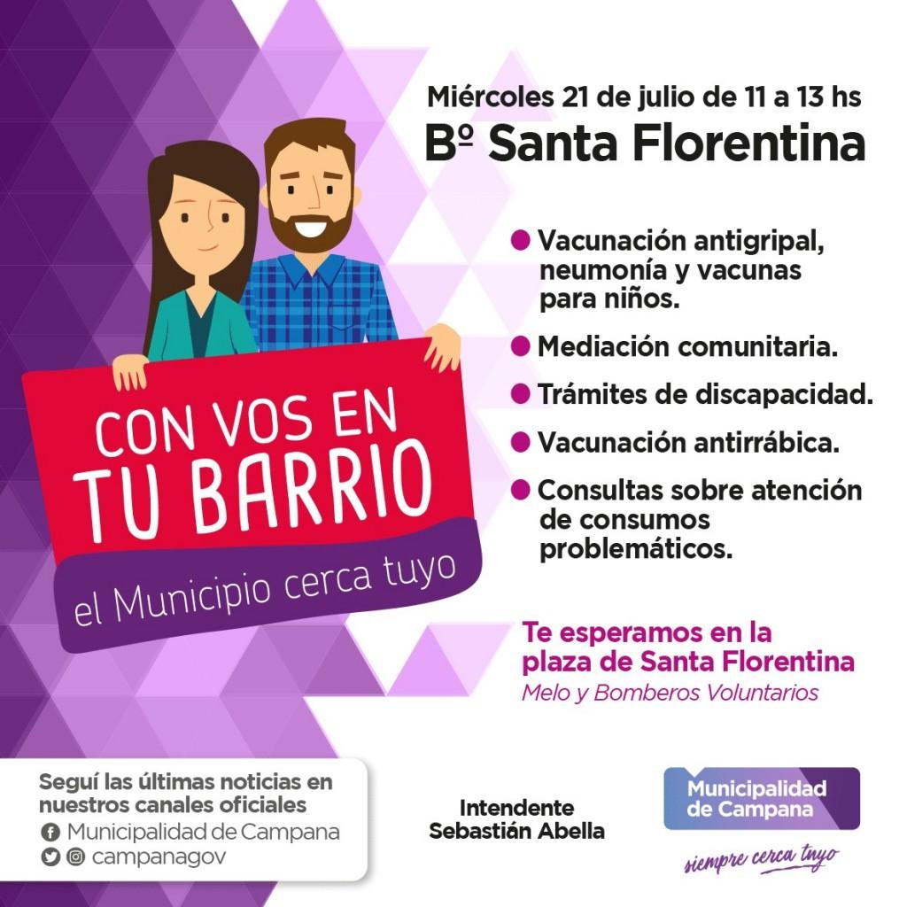 """El programa municipal """"Con vos en tu barrio"""" continúa este miércoles por Santa Florentina"""
